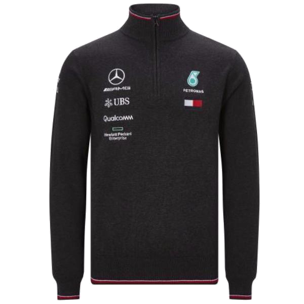 Mercedes Men Mapm RP Half Zip 17 Knitted Jumper Grey